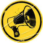 Yellow sticker megaphone